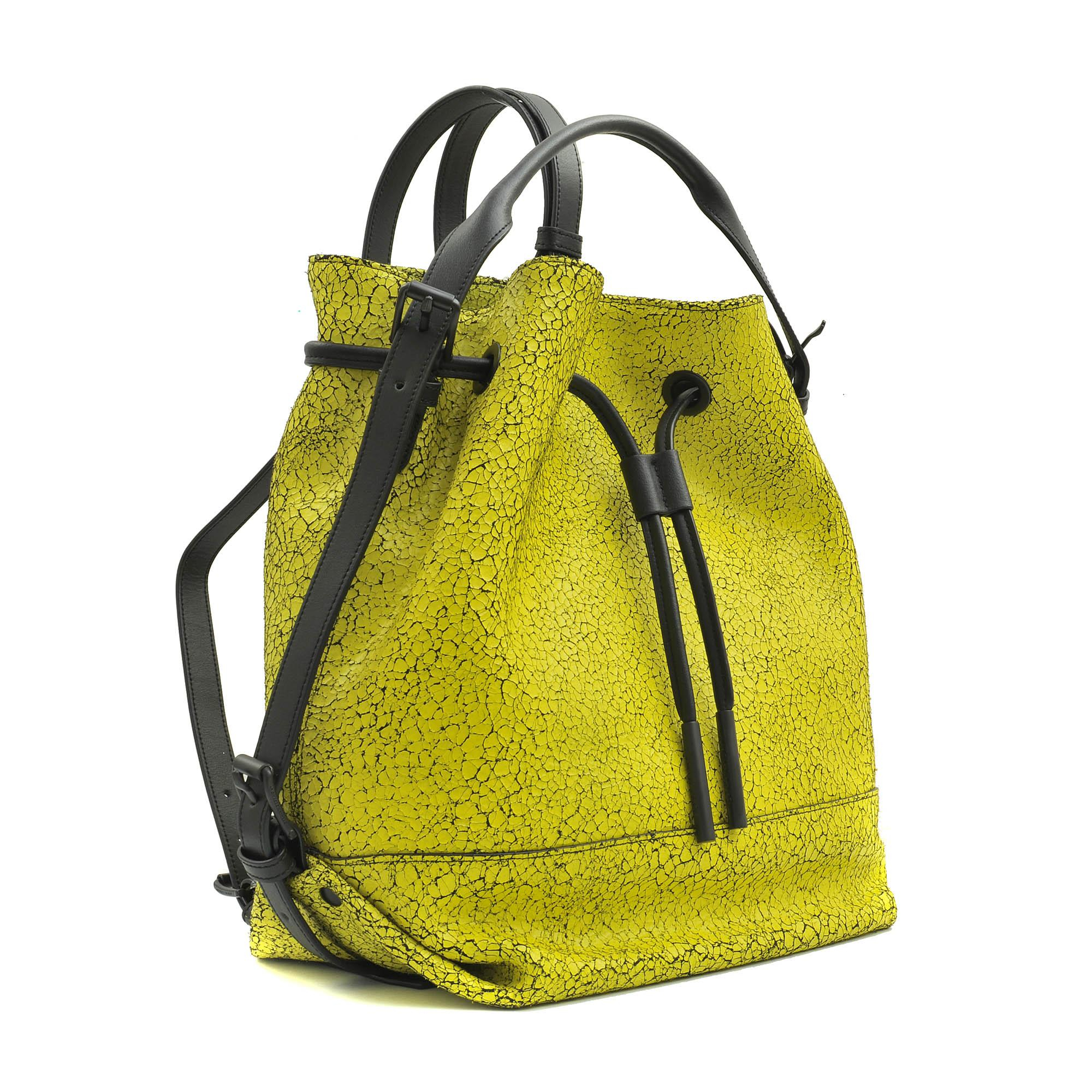 Opening Ceremony Izzy Wrinkled Leather Backpack in Yellow