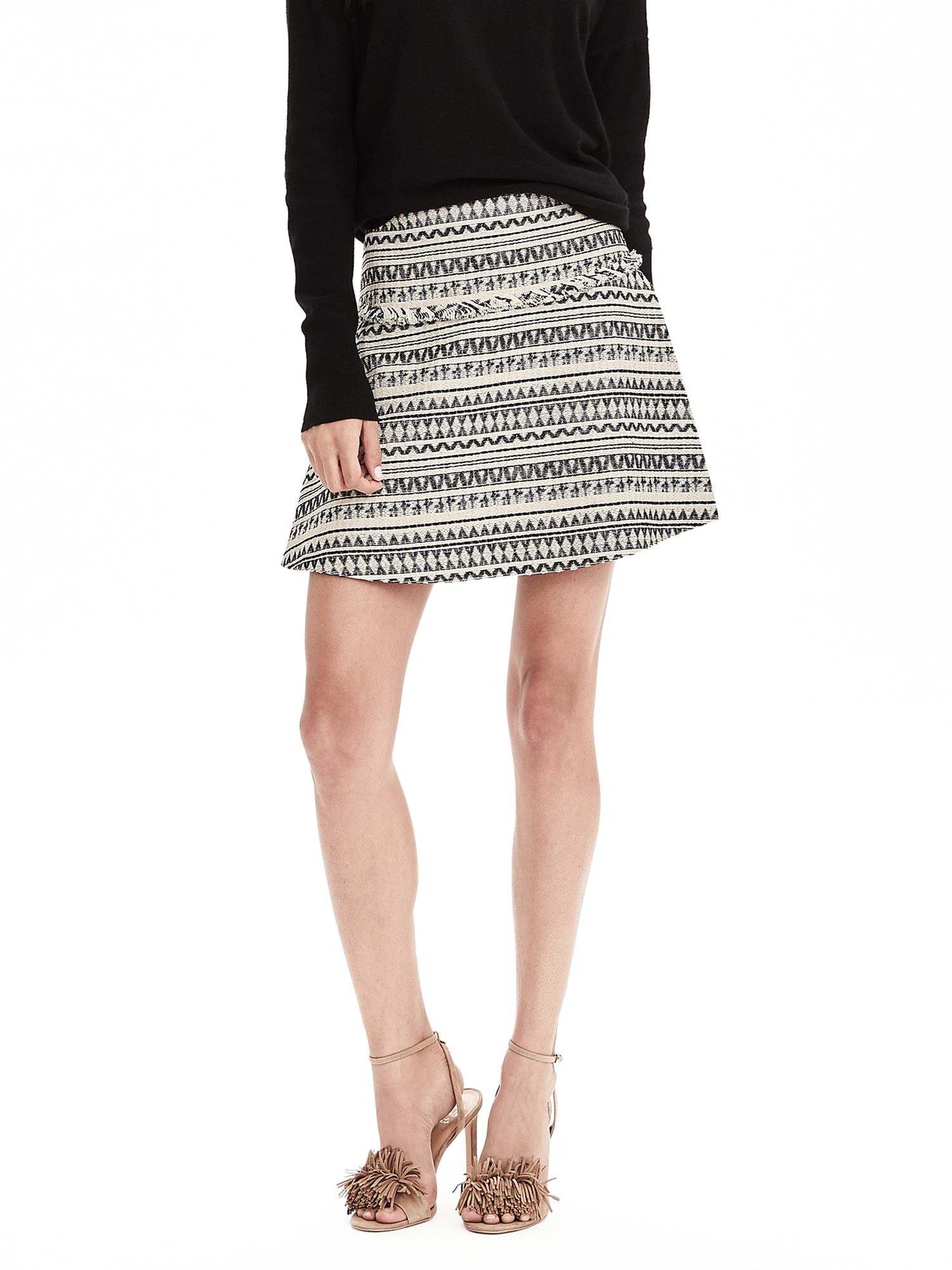 Lyst Banana Republic Jacquard Fit And Flare Skirt In Black