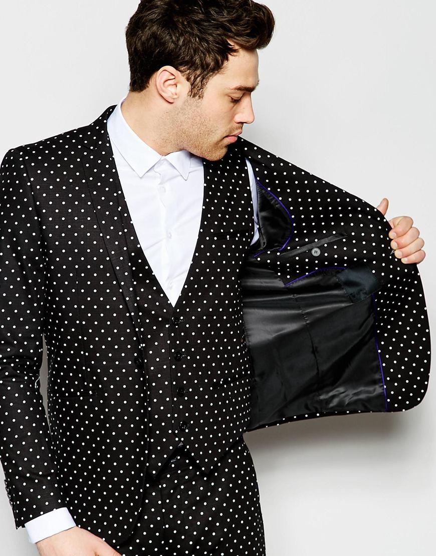 Lyst Vito Polka Dot Suit Jacket In Skinny Fit In Black