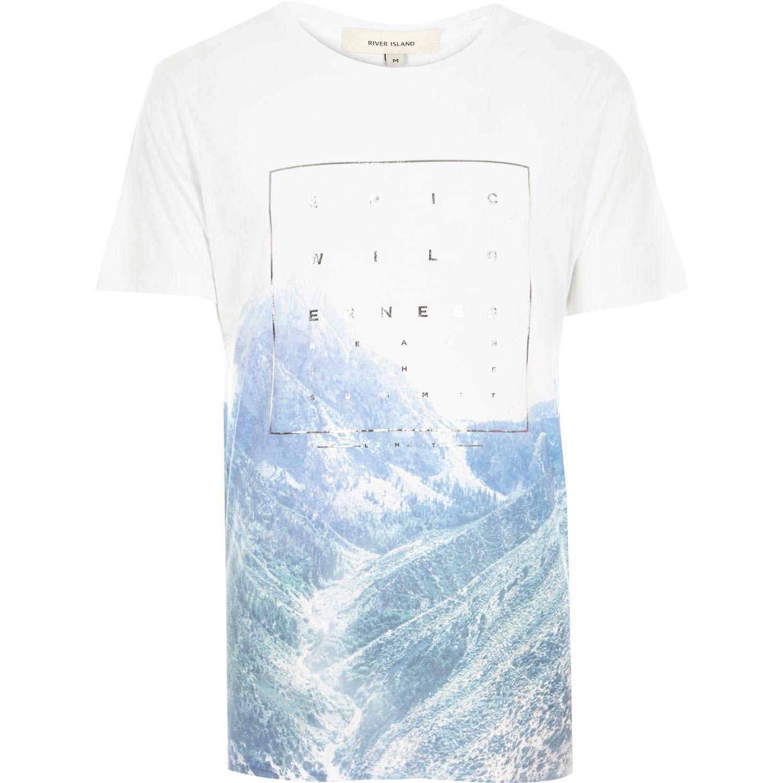 River island white epic wilderness foil print t shirt in for Foil print t shirts custom