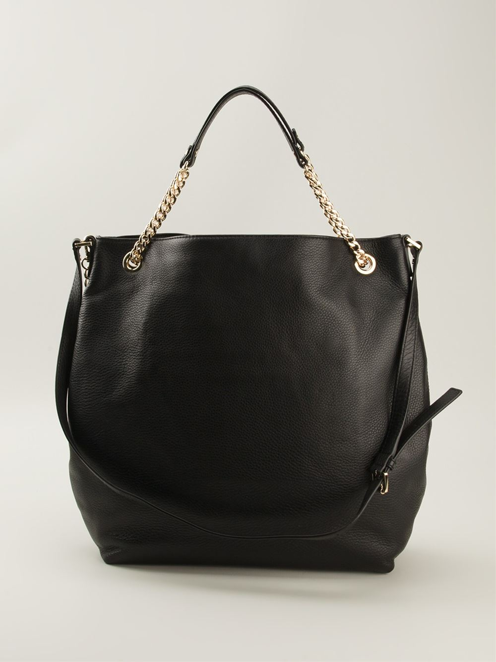 Lyst - MICHAEL Michael Kors Chain Handles Slouchy Tote Bag in Black f977d61bd