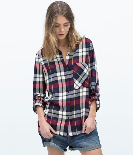 Zara plaid shirt in red dark red lyst for Oversized red plaid shirt