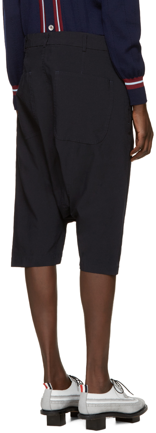 Comme des garçons Navy Cropped Sarouel Trousers in Blue