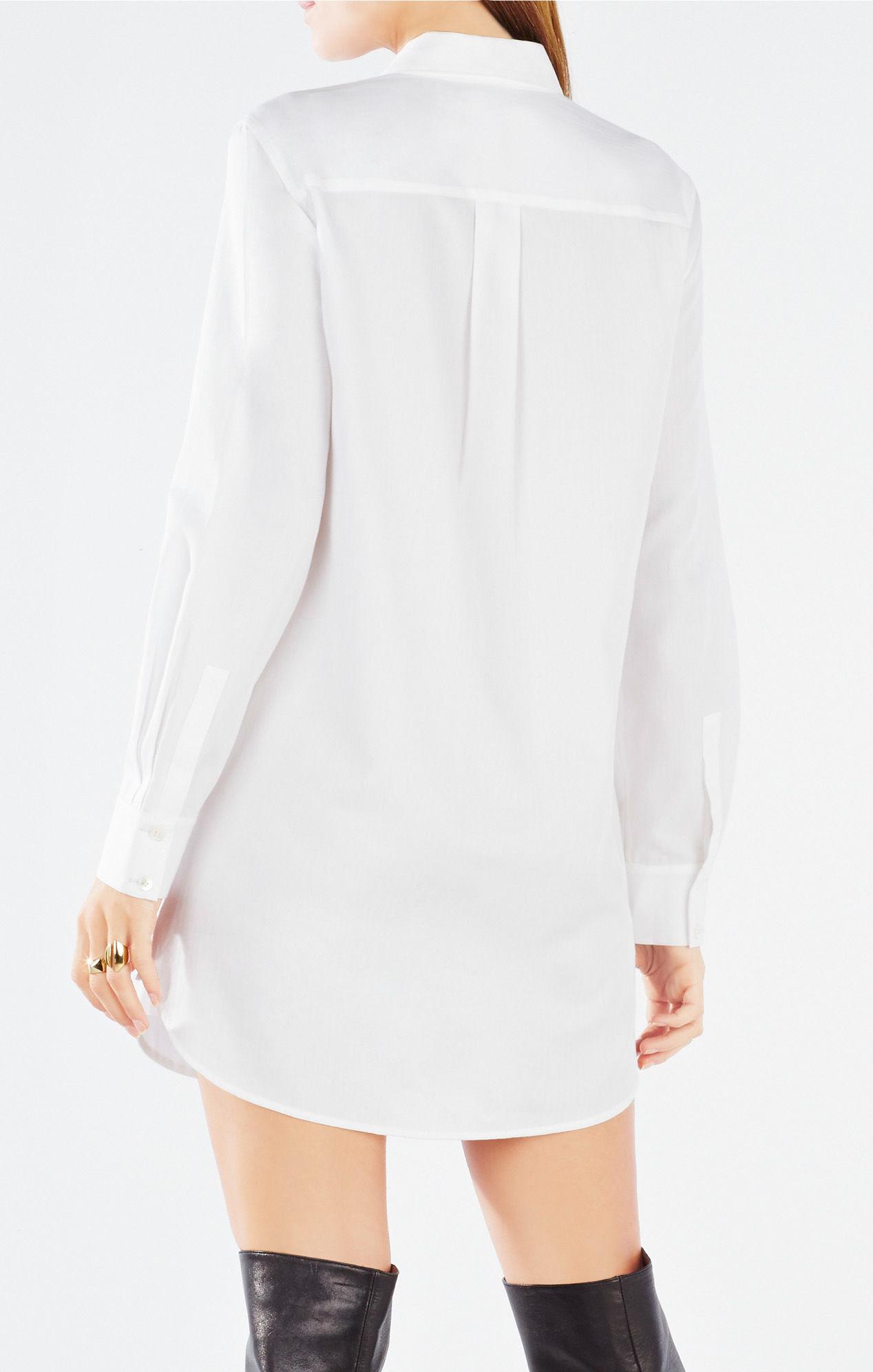 Bcbgmaxazria Lucetta Lace Blocked Button Up Shirt Dress In