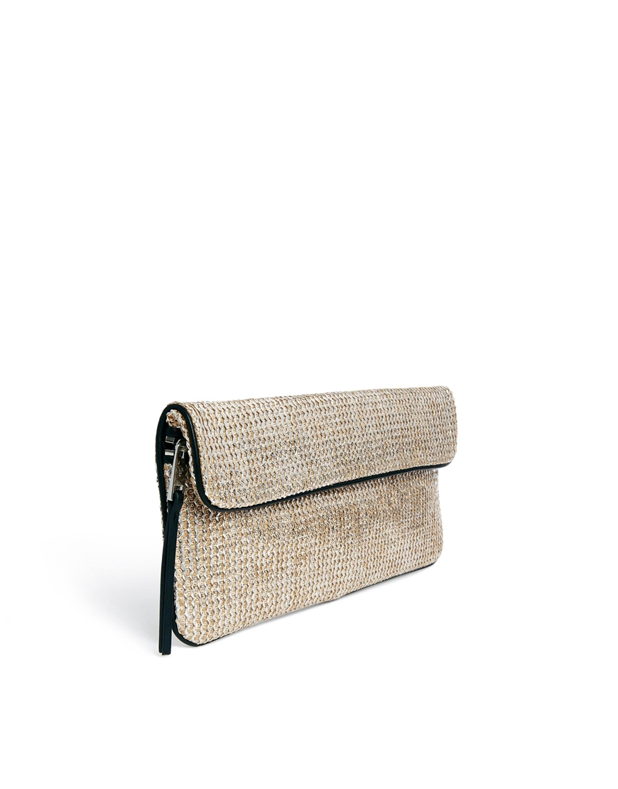 French connection Beach Woven Clutch Bag in Metallic | Lyst