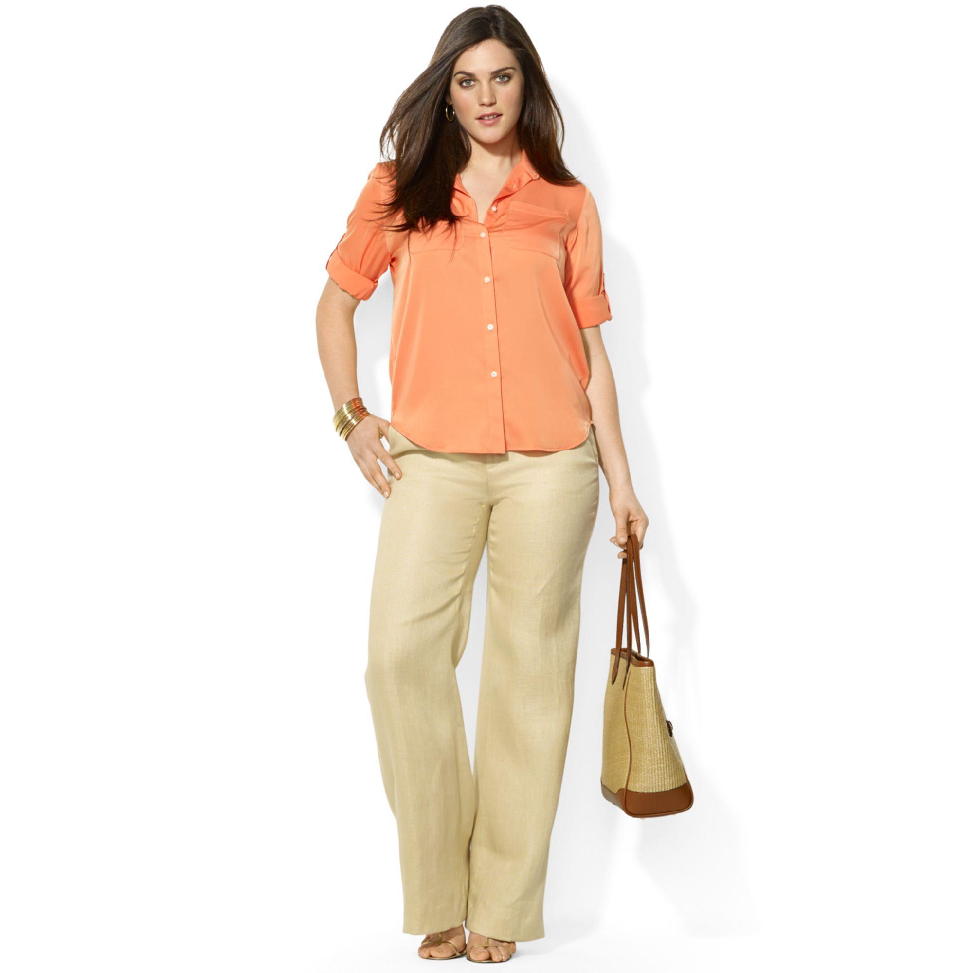 lauren by ralph lauren plus size wideleg linen pants in natural | lyst