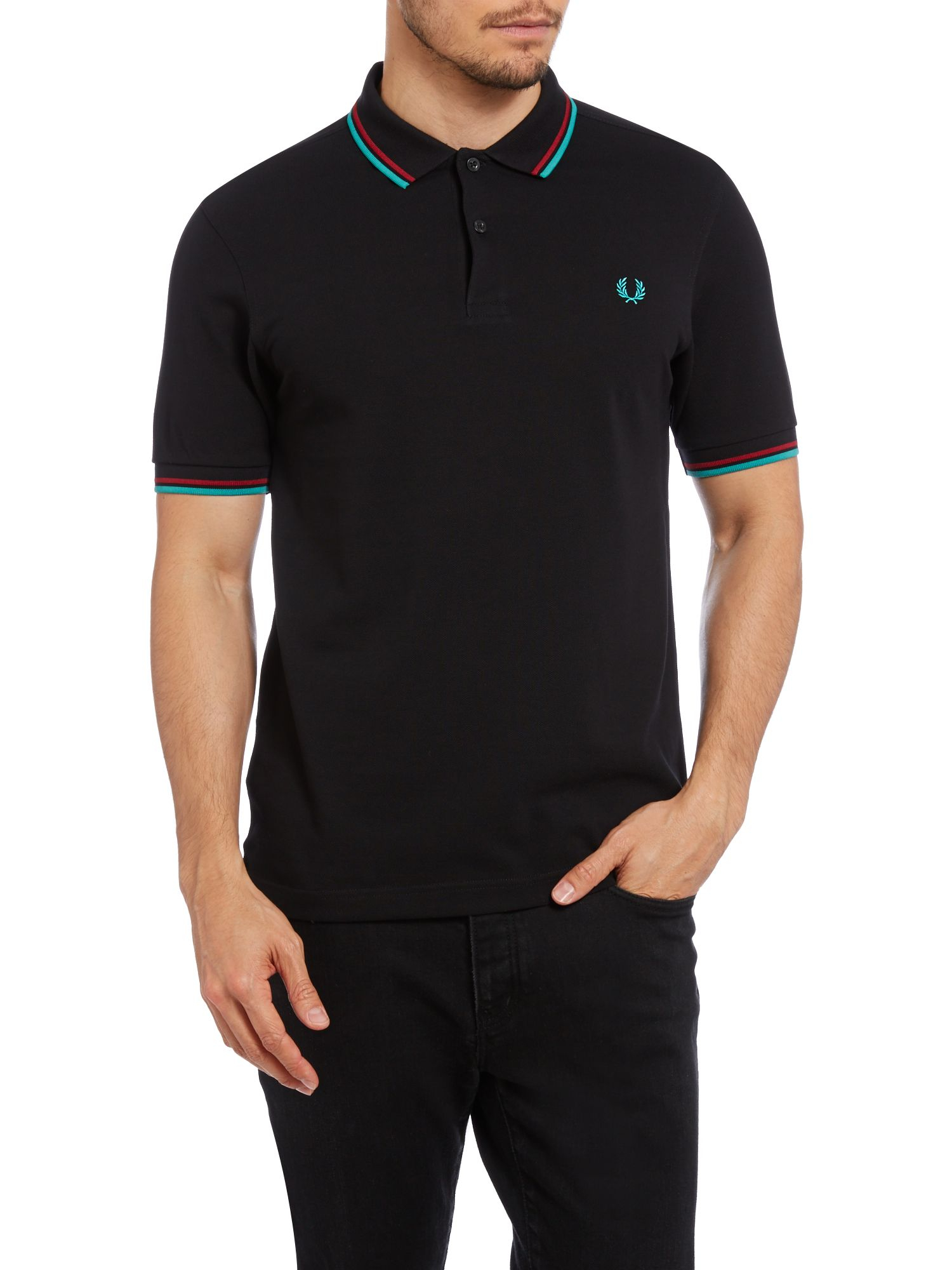 fred perry twin tipped slim fit polo shirt in black for men lyst. Black Bedroom Furniture Sets. Home Design Ideas