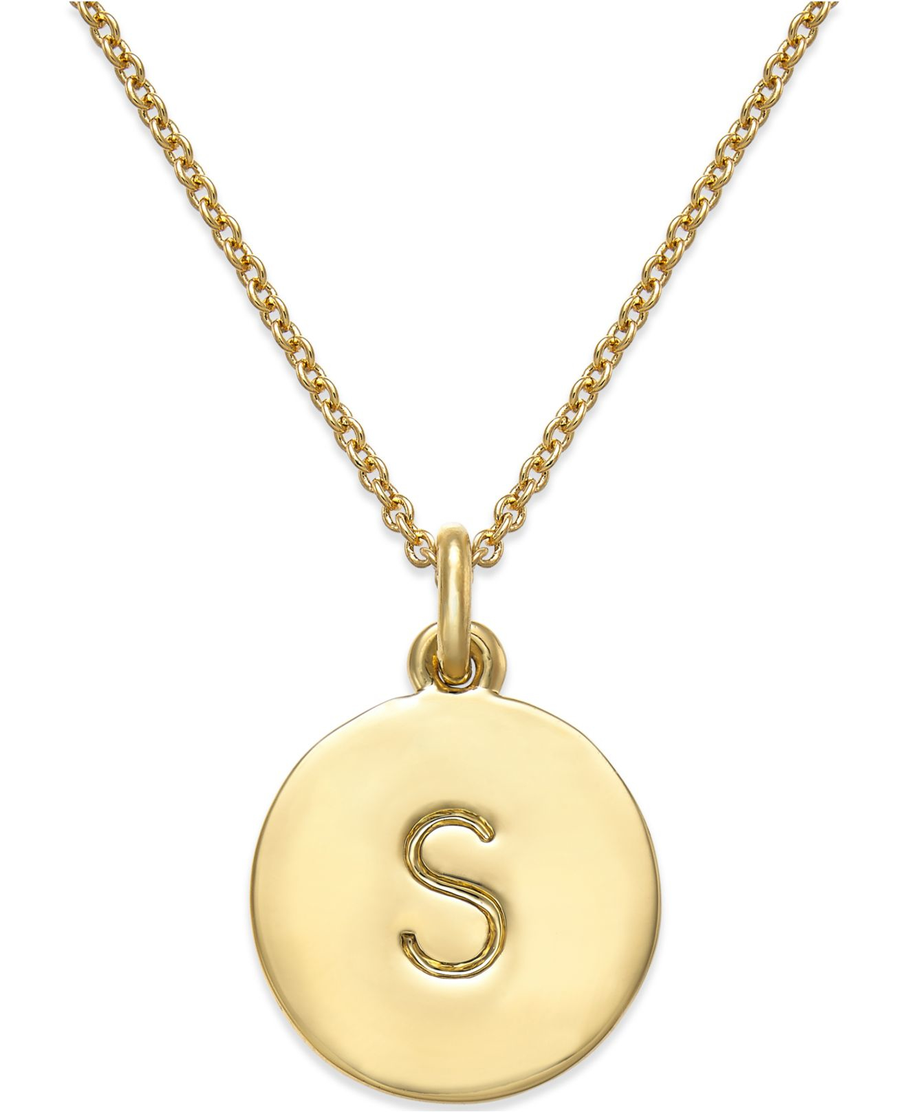 kate spade 12k gold plated initials pendant necklace in