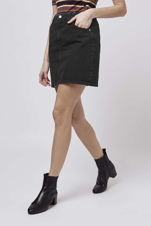 Topshop Petite Moto High Waist Denim Skirt in Black | Lyst