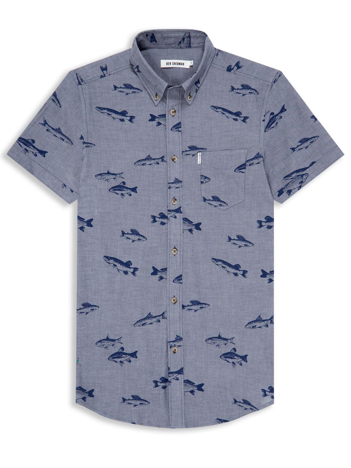 Ben sherman fish print shirt in blue for men lyst for Fish print shirt