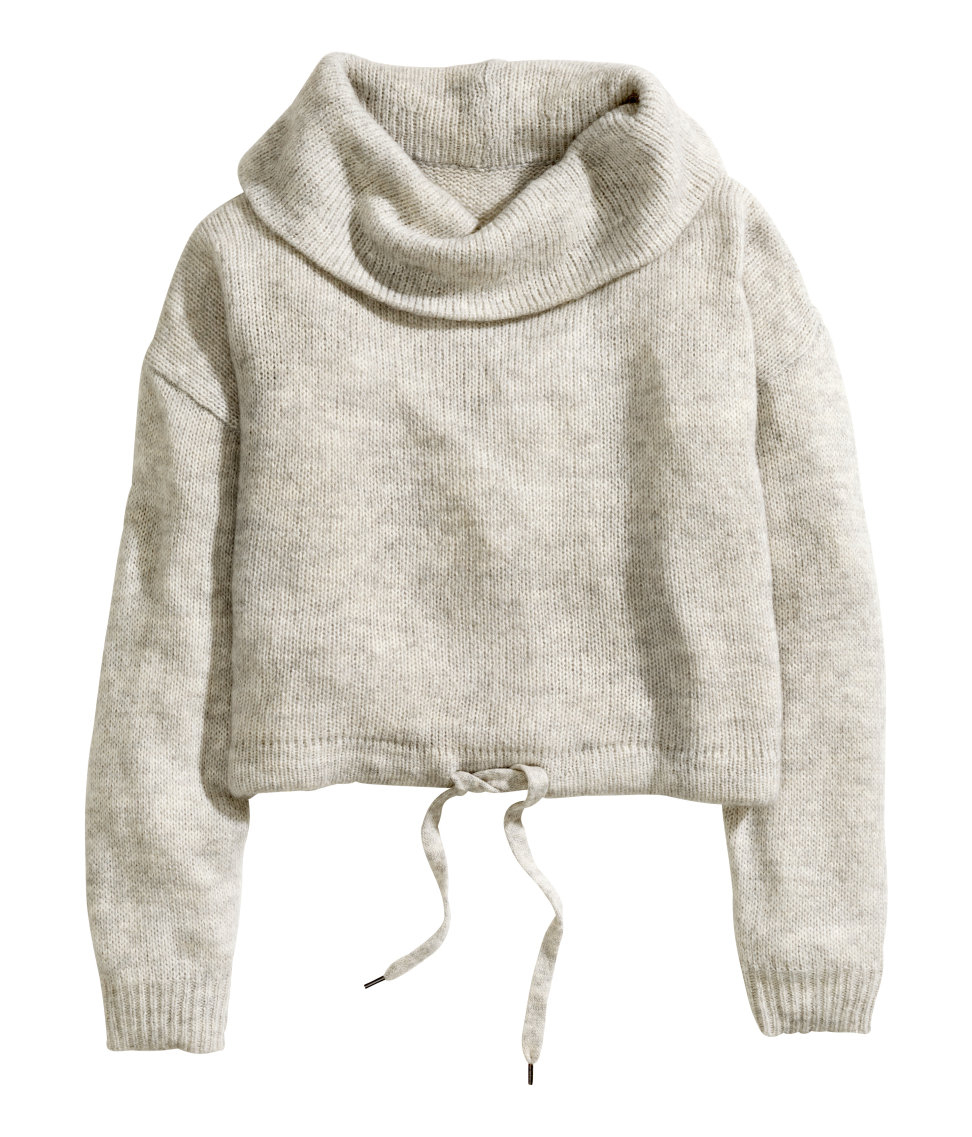 6296efb476c H&M Gray Wide Polo-Neck Jumper