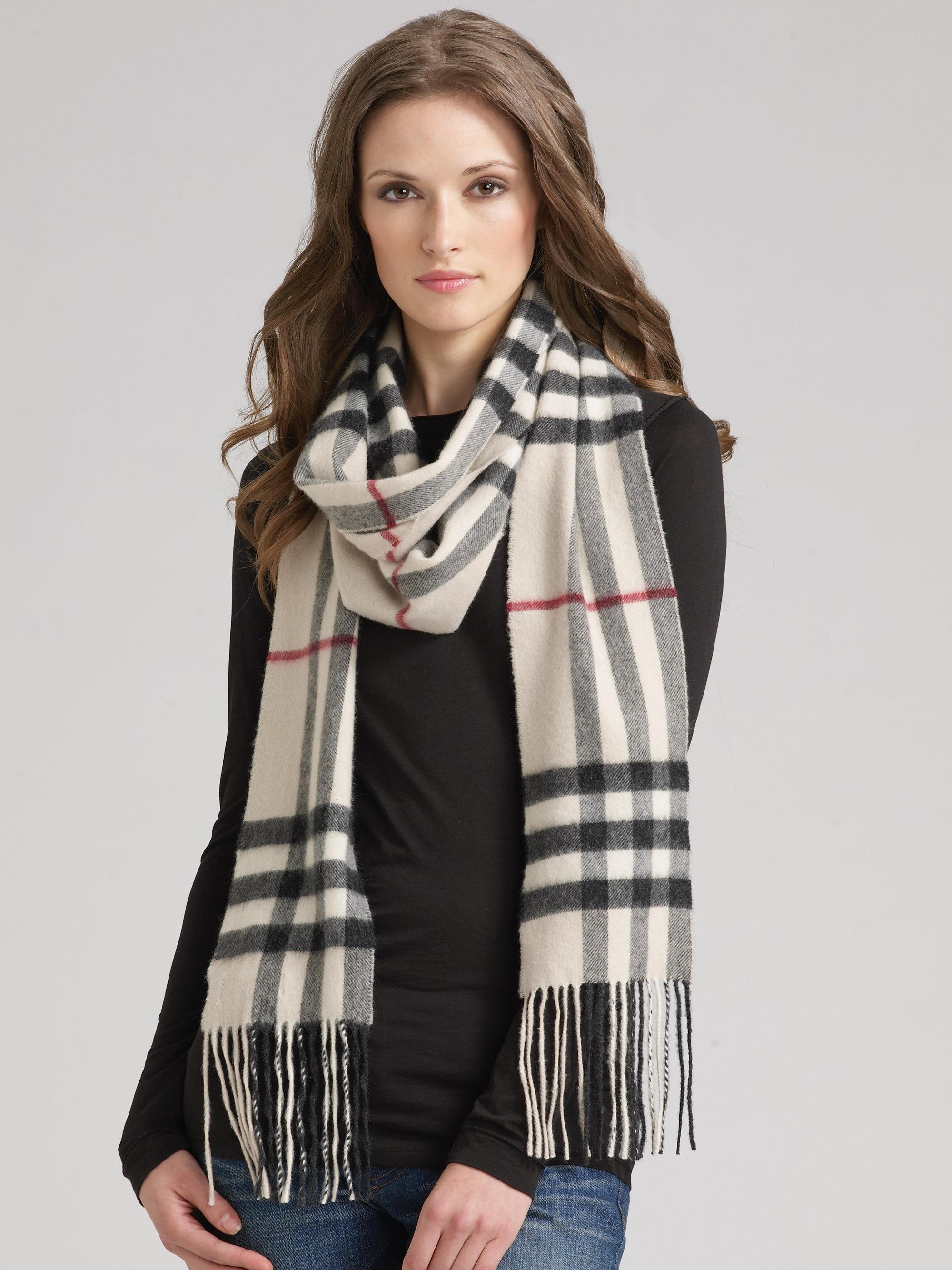 7fc87b35b8 ... sale lyst burberry giant check cashmere skinny scarf 47e55 4b1d2