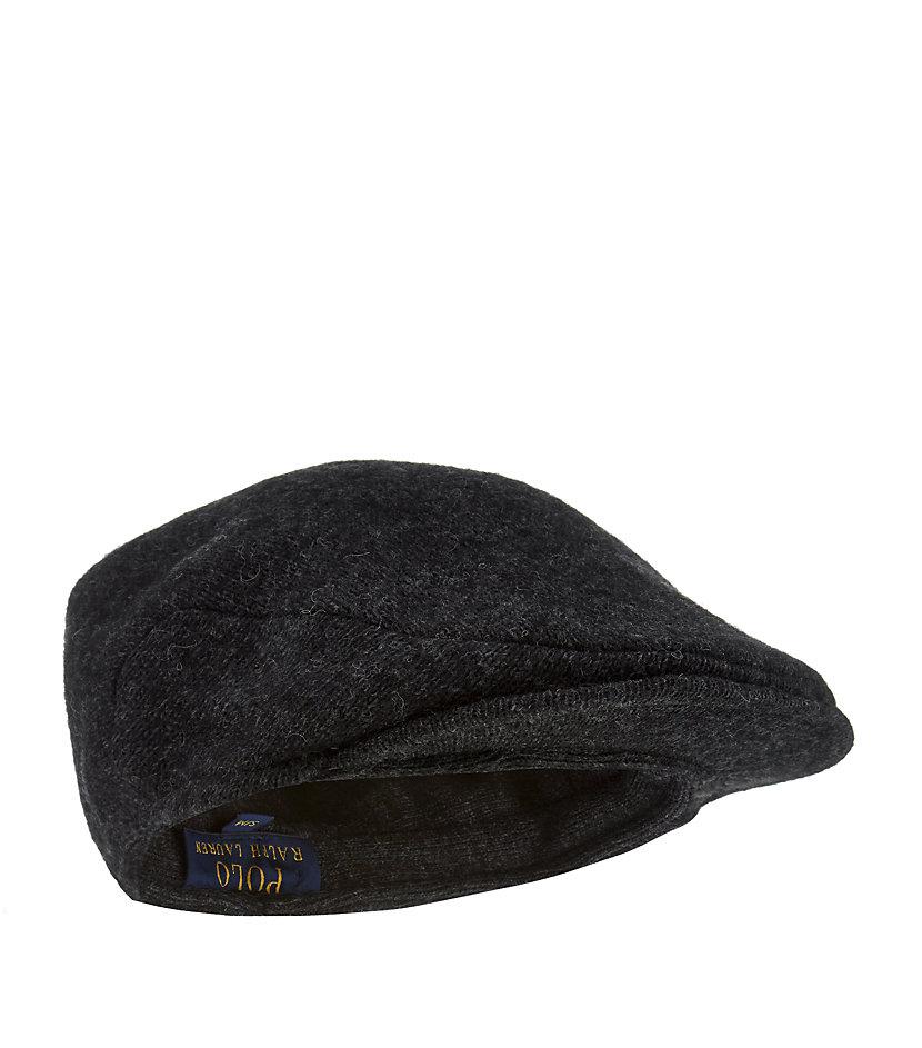 polo ralph lauren wool blend driving cap in black for men. Black Bedroom Furniture Sets. Home Design Ideas