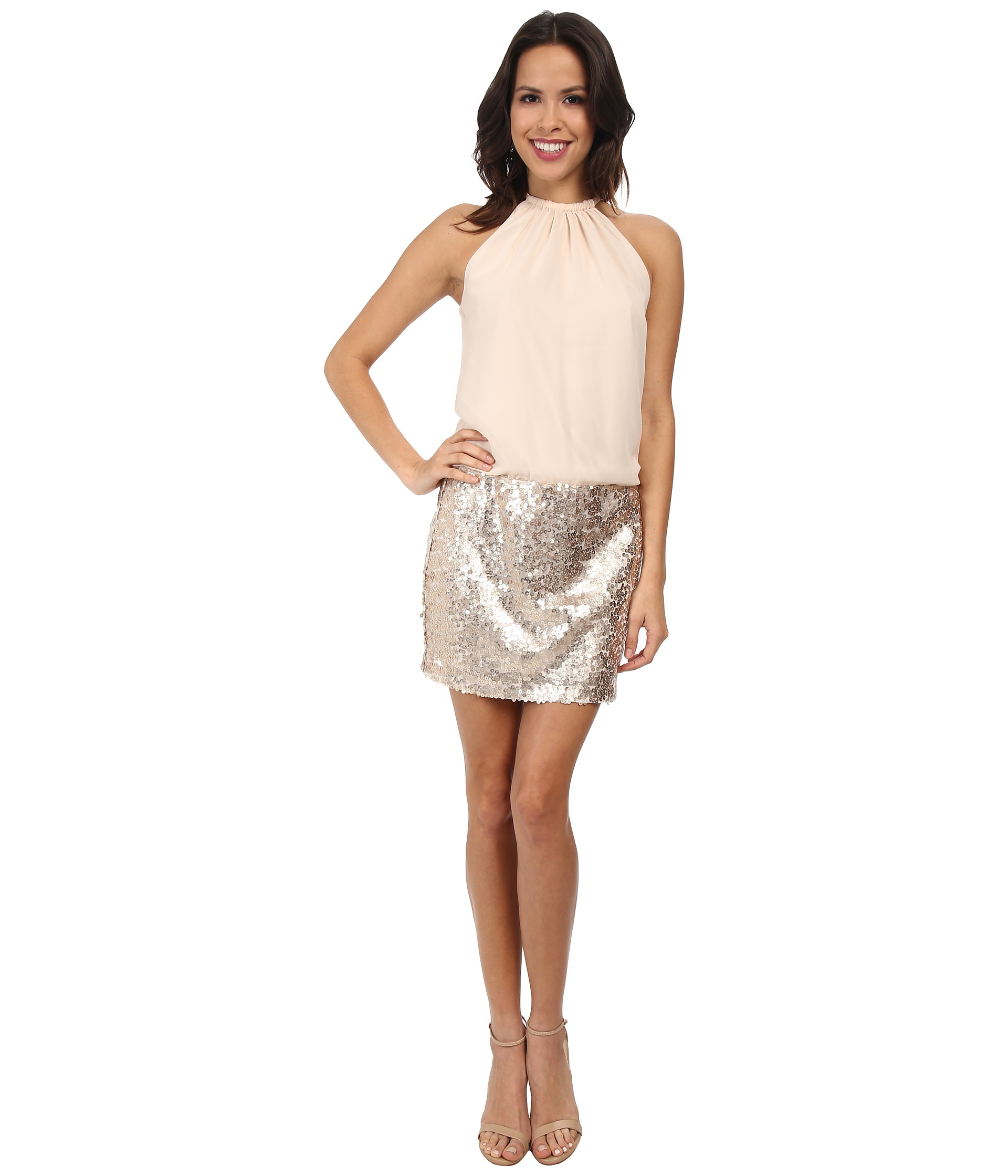 Jessica simpson Blousen Dress W/ Sequin Skirt in Pink - Lyst