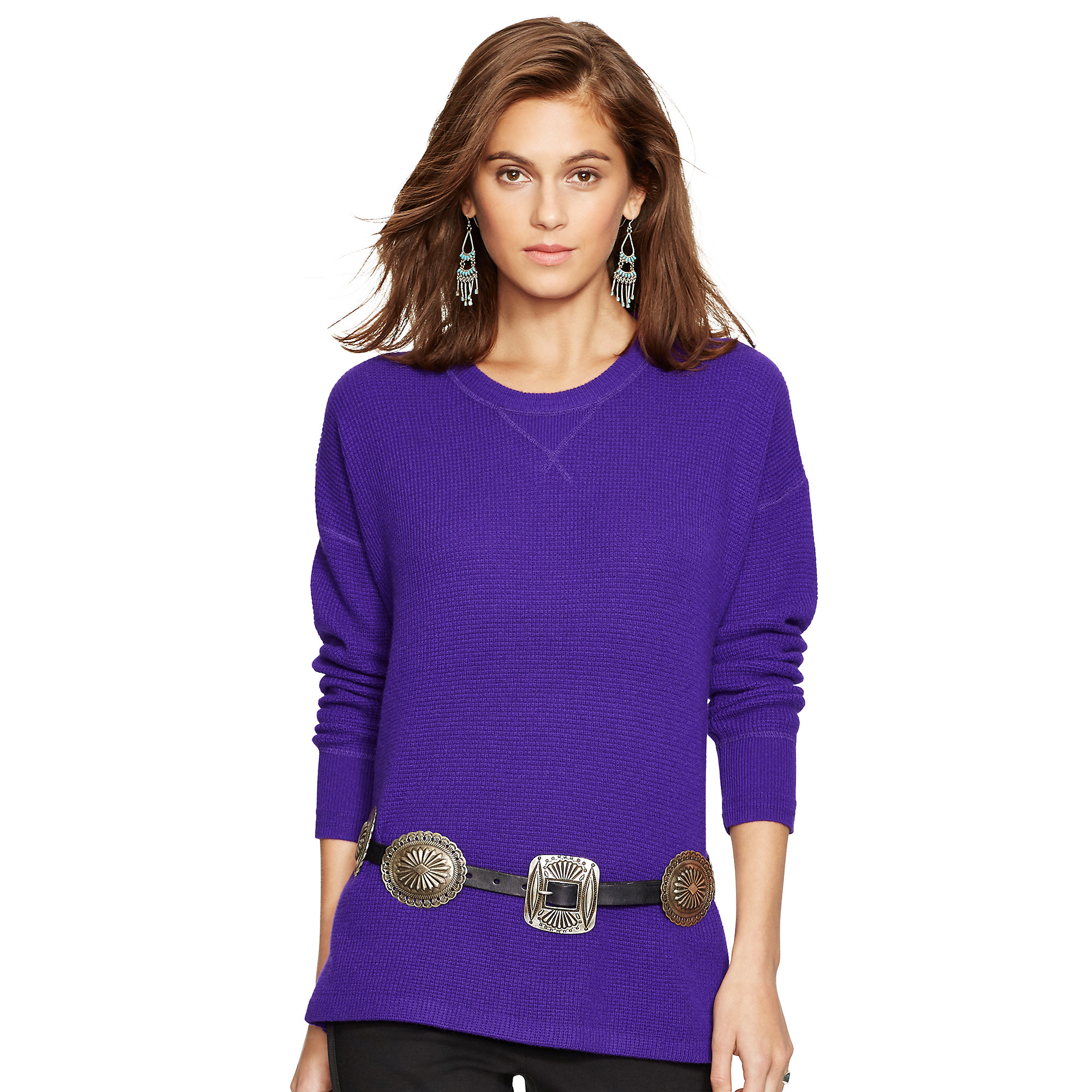 Polo ralph lauren Waffle-knit Cashmere Sweater in Purple ...