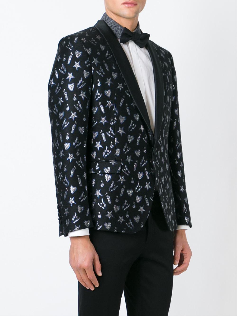 Msgm Patterned Dinner Suit Jacket in Black for Men | Lyst