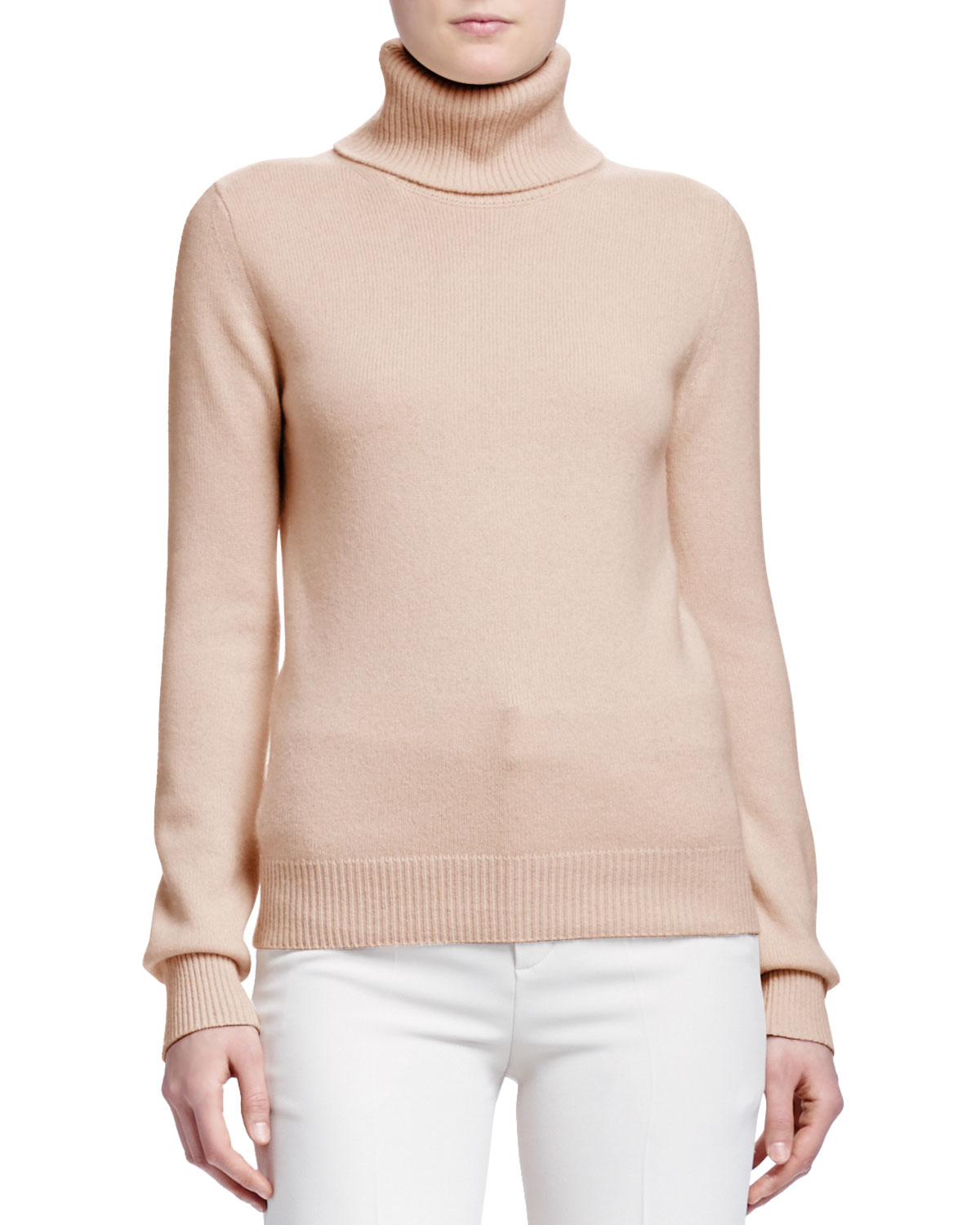 Lyst Chlo 233 Turtleneck Cashmere Sweater In Natural