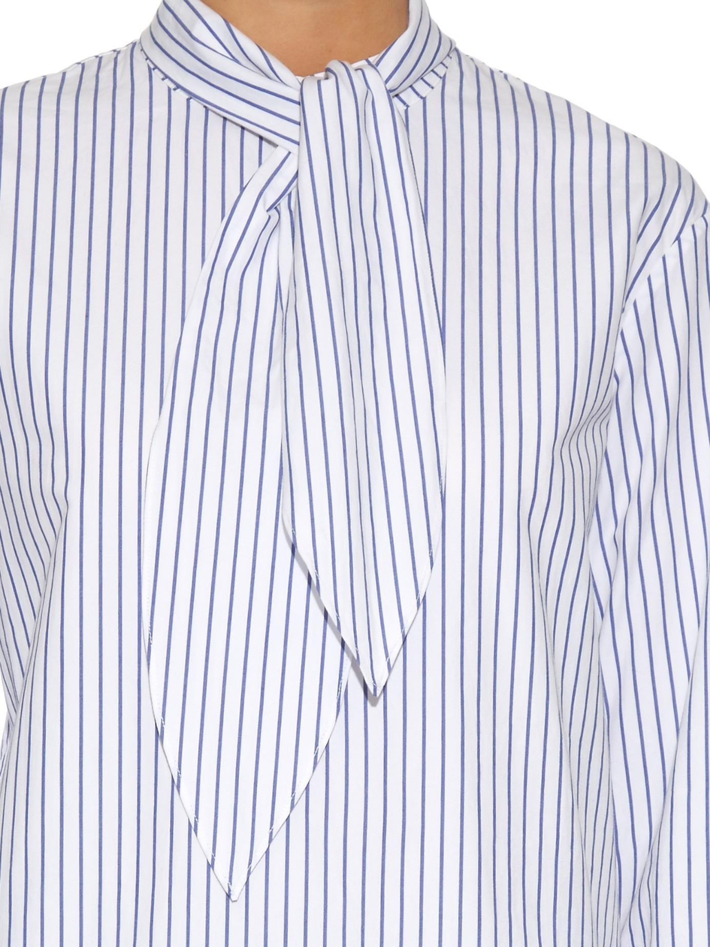 Lyst Trademark Tie Neck Striped Cotton Shirt In Blue