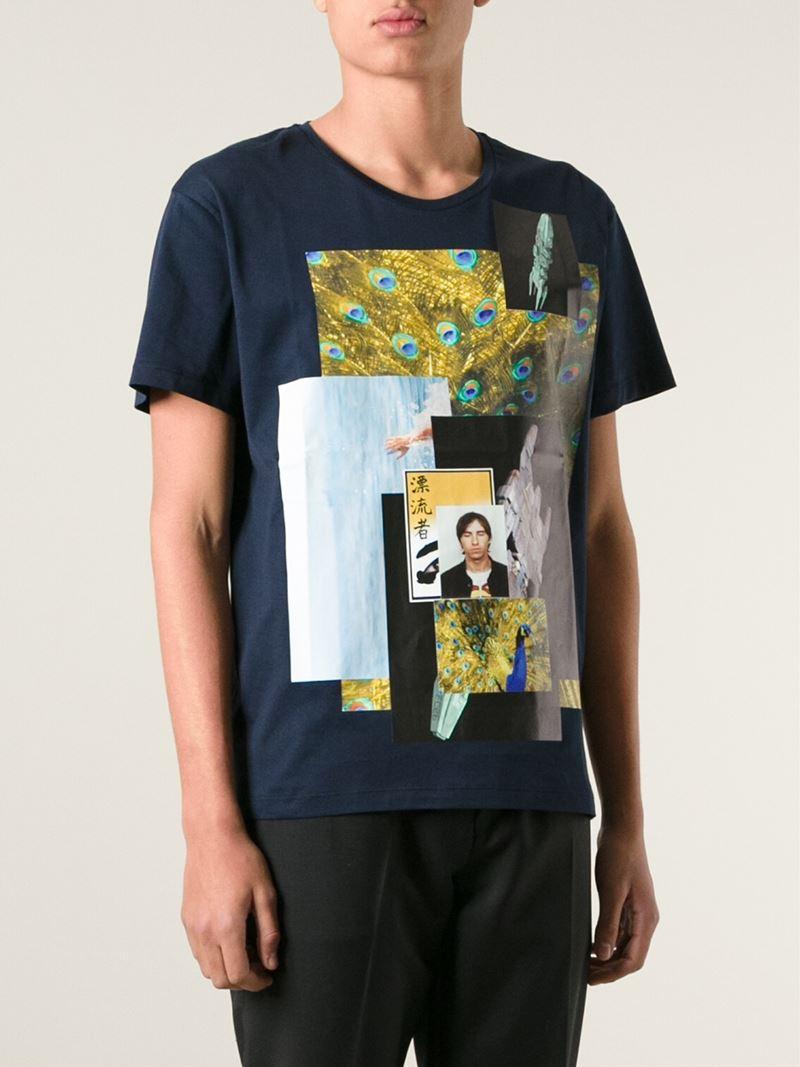 Raf simons Digital Print T-Shirt in Blue for Men   Lyst