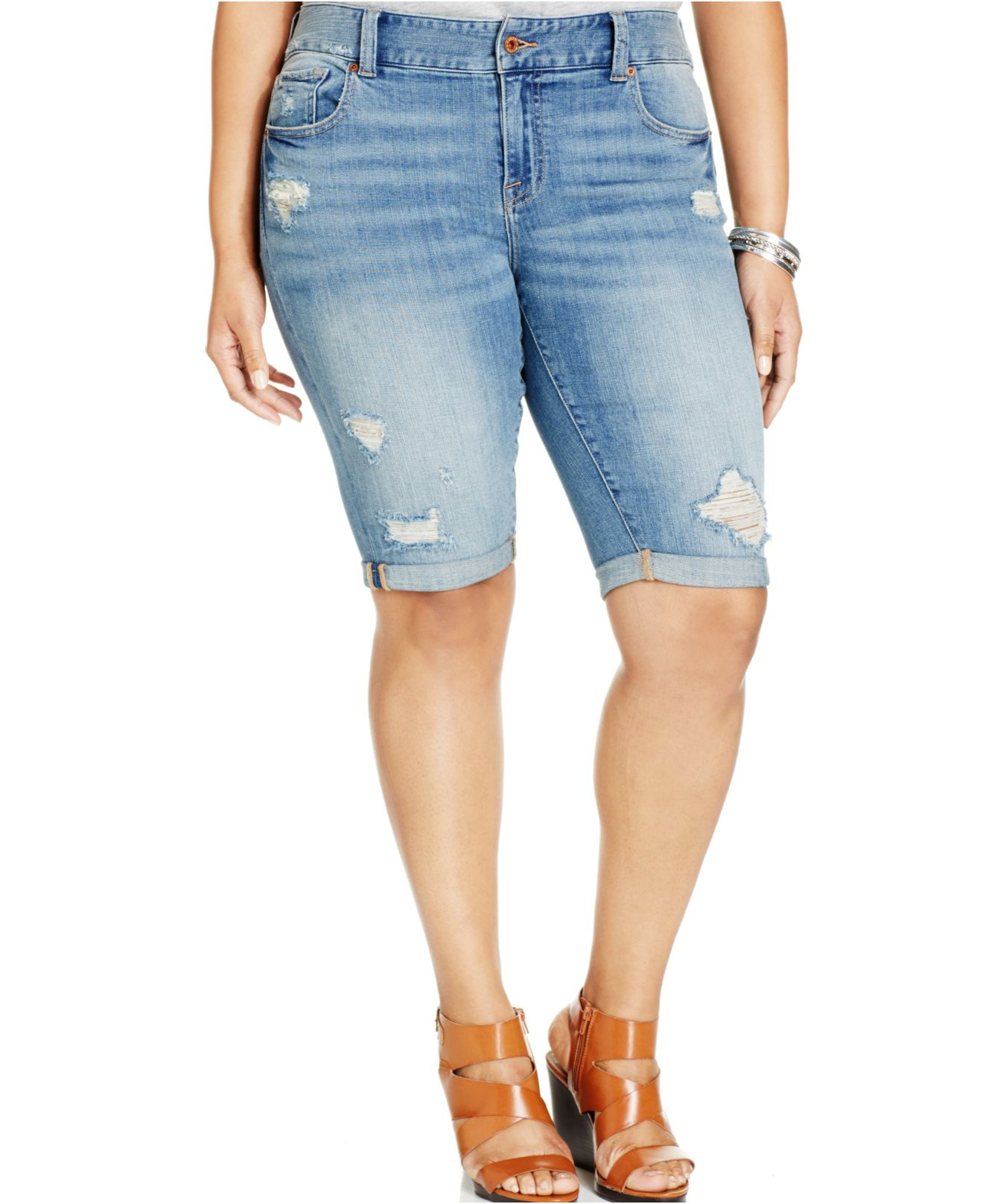 lucky brand lucky brand plus size distressed denim bermuda shorts