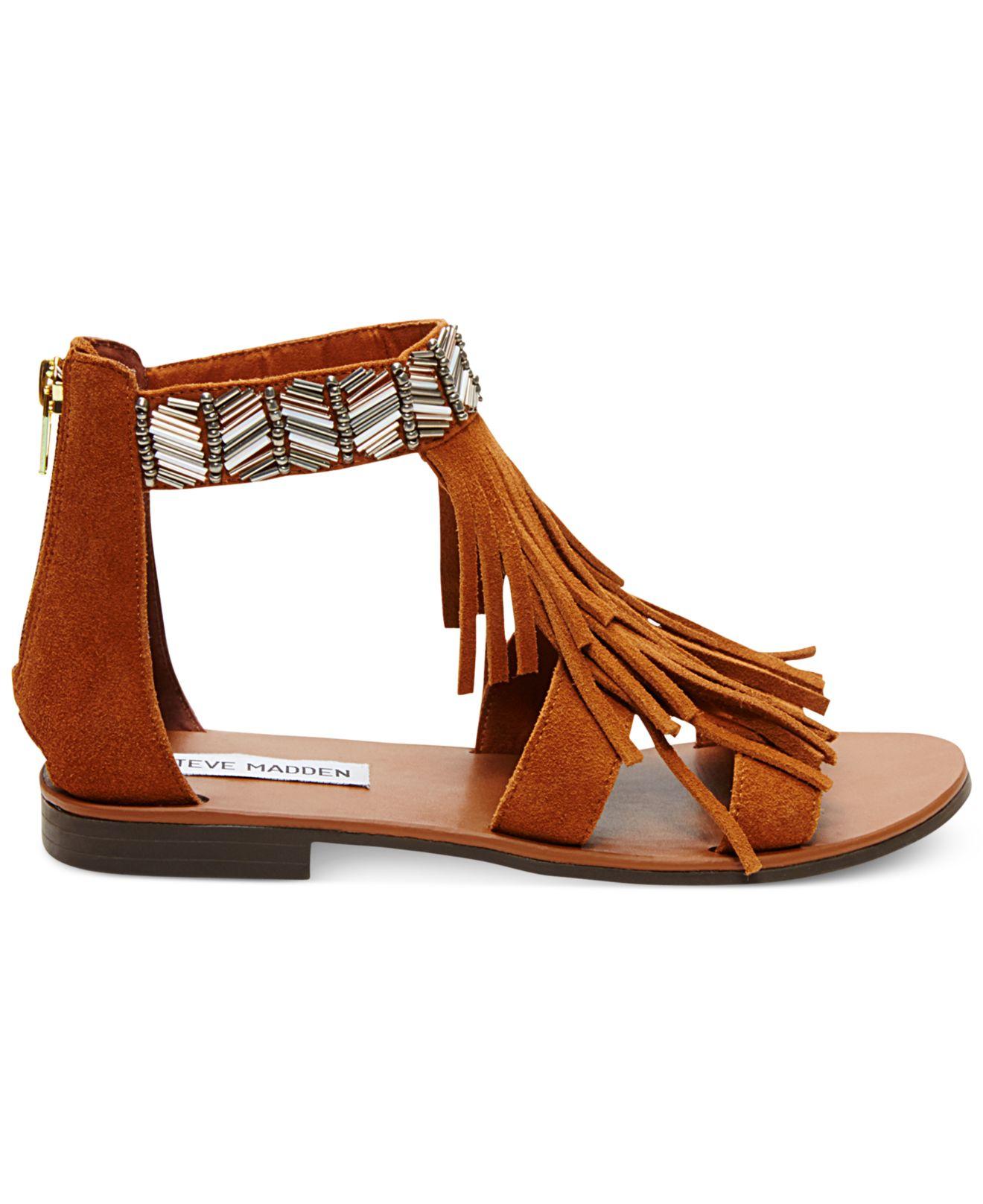 steve madden giaani fringe flat sandals in brown lyst. Black Bedroom Furniture Sets. Home Design Ideas