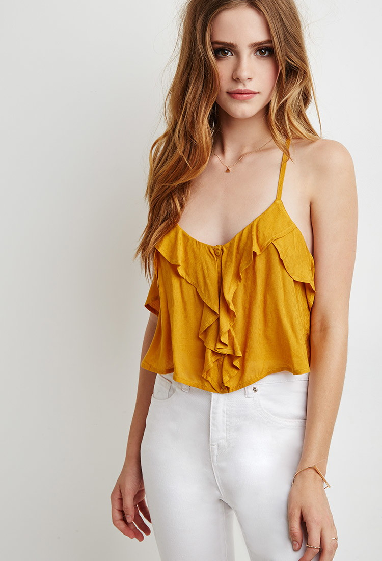 f06fbc417fb31 Lyst - Forever 21 Ruffle Cropped Cami Top in Brown