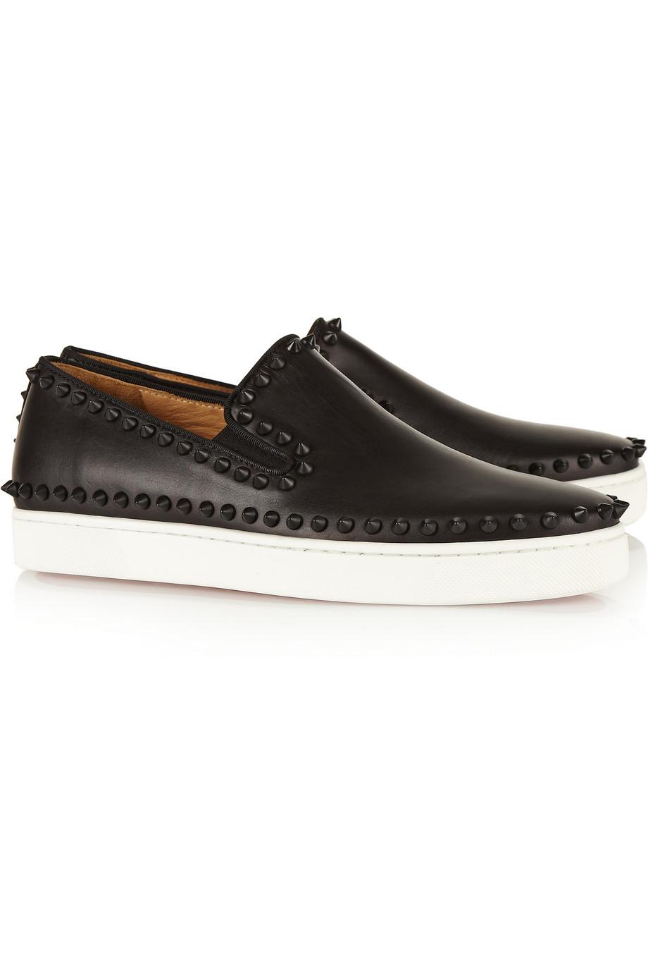 Christian Louboutin Pik Boat Studded Leather Slipon Sneakers in Black