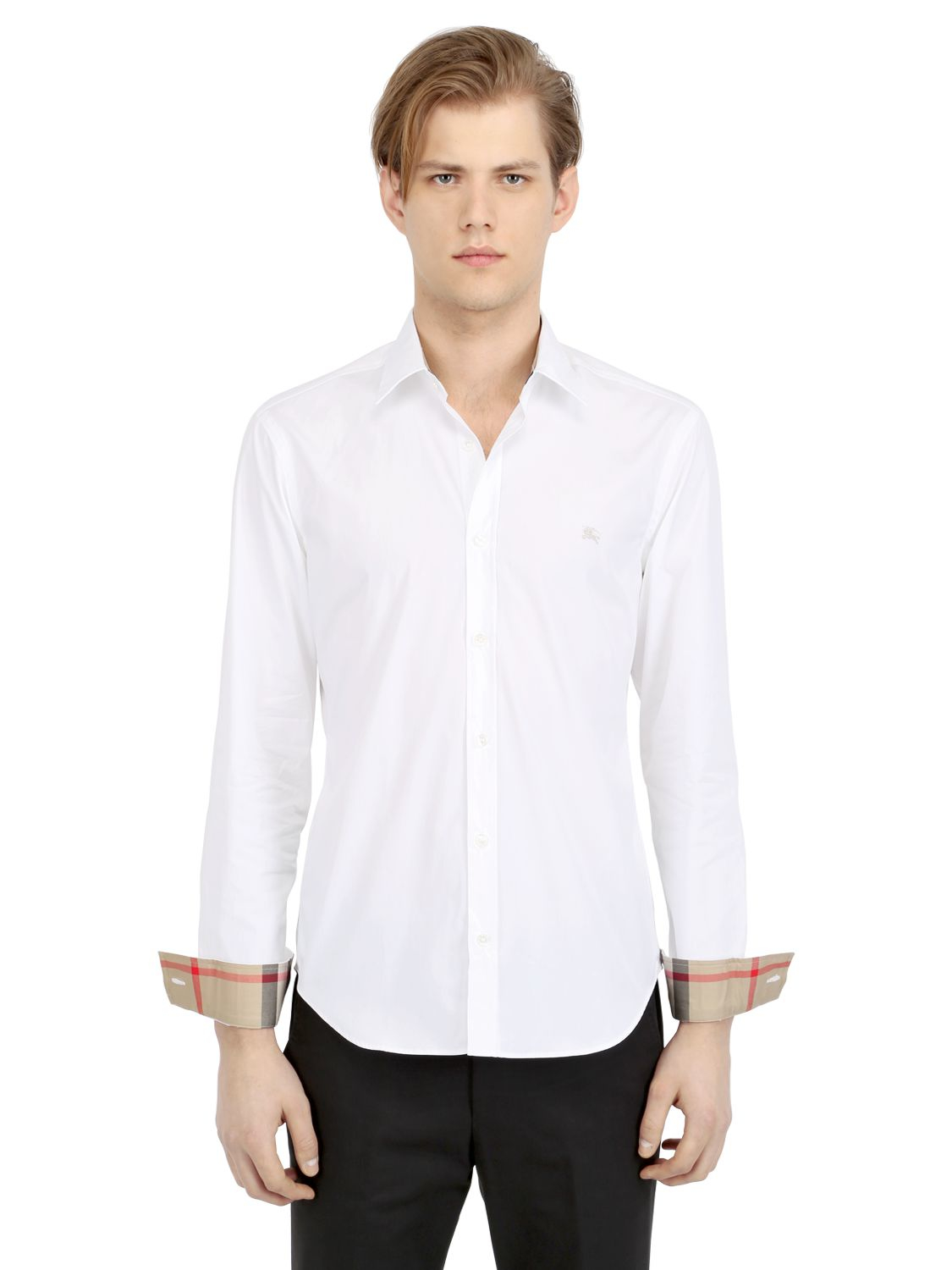 Burberry brit stretch cotton poplin shirt in white for men for What is a poplin shirt