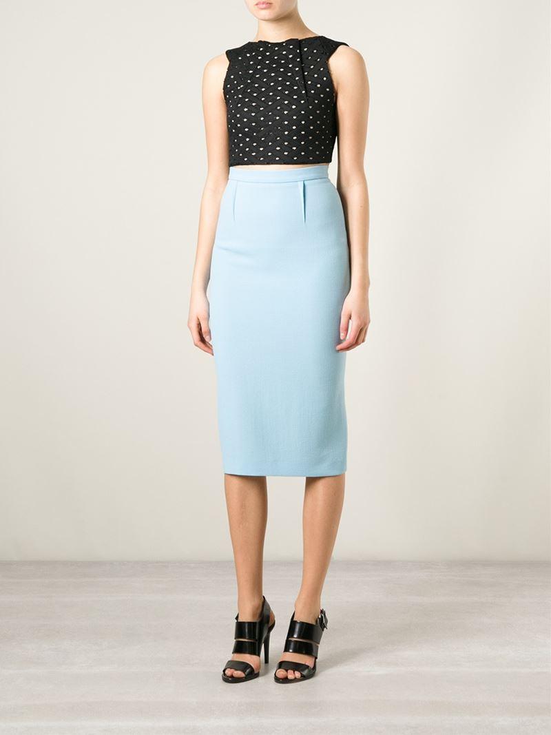5ba64e377 Roland Mouret 'Arreton' Skirt in Blue - Lyst