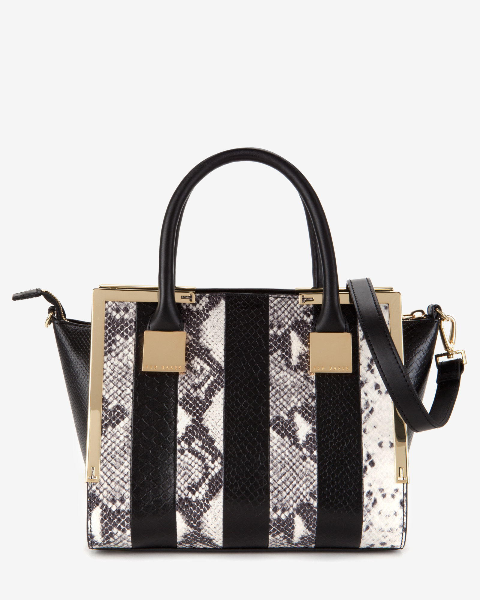 7e04fdf368 Lyst - Ted Baker Exotic Leather Mini Tote Bag in Black