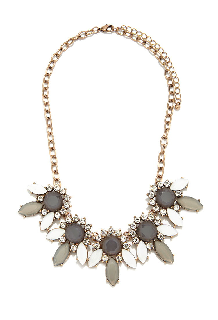 Lyst Forever 21 Rhinestone Petal Statement Necklace In Gray
