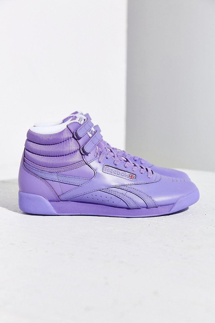 7e12a81f3e6a6 Lyst - Reebok Freestyle Hi Spirit Sneaker in Purple