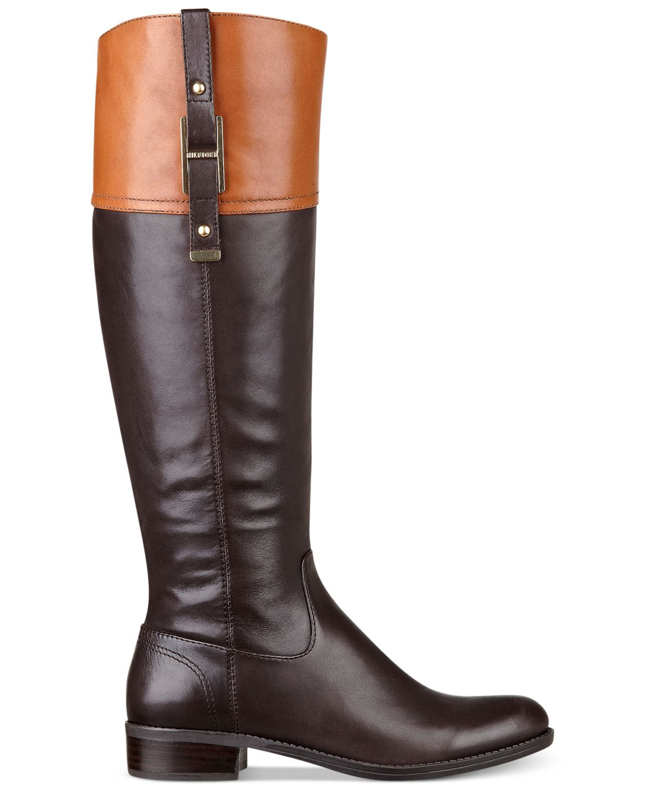 da3490fd9 Lyst - Tommy Hilfiger Women S Gibsy Wide Calf Riding Boots in Brown