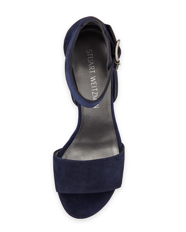 16a73d8023 Stuart Weitzman Mostly Suede Platform Sandals in Blue - Lyst
