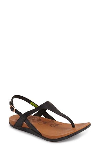 Ahnu Salena Leather Sandals In Black Lyst