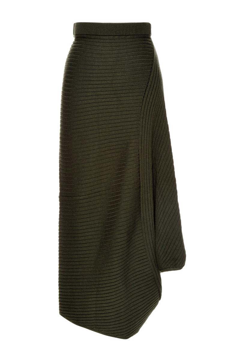 j w draped ribknit maxi skirt in green