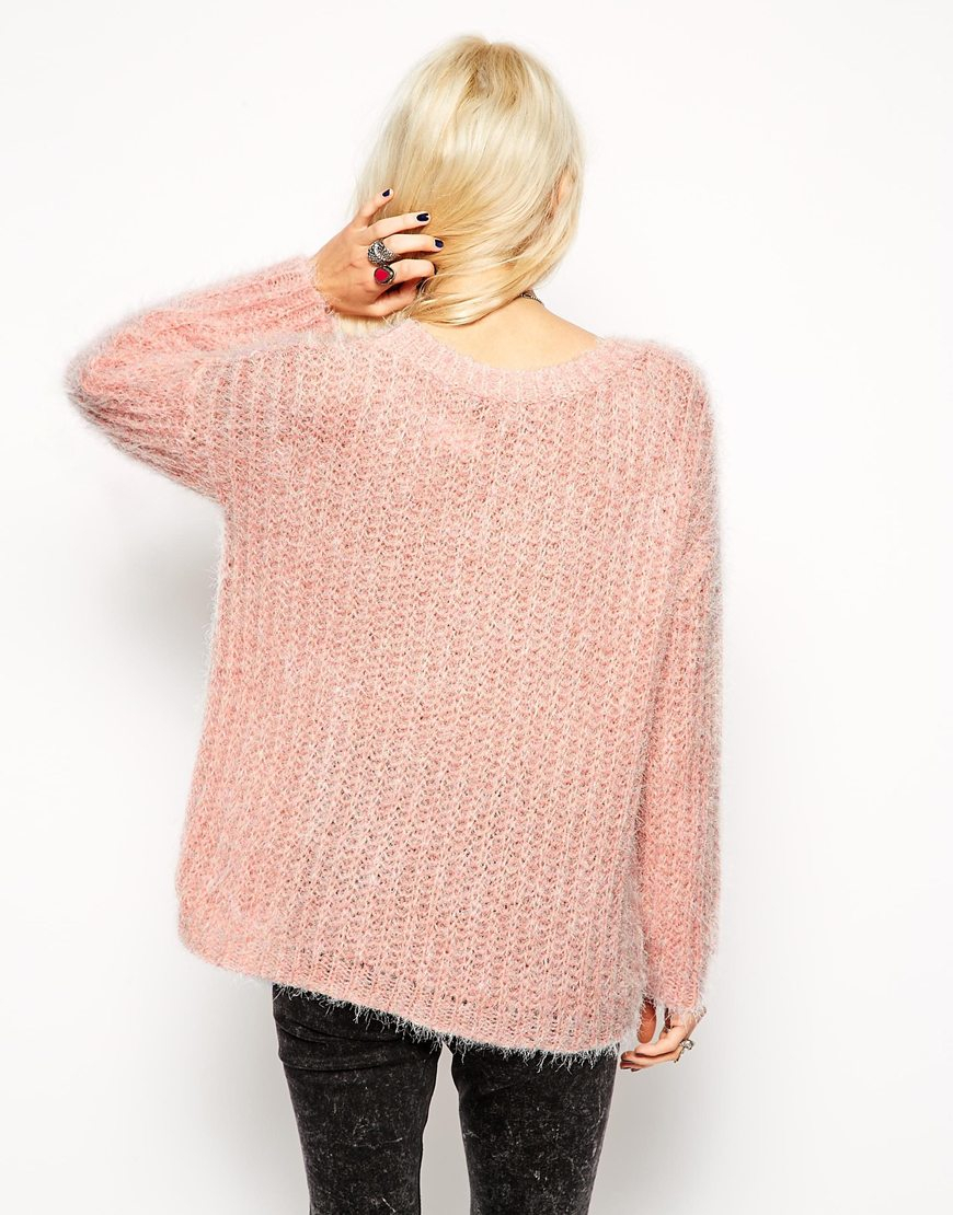 Asos Fluffy Jumper In Slouchy Off Shoulder Shape in Pink | Lyst