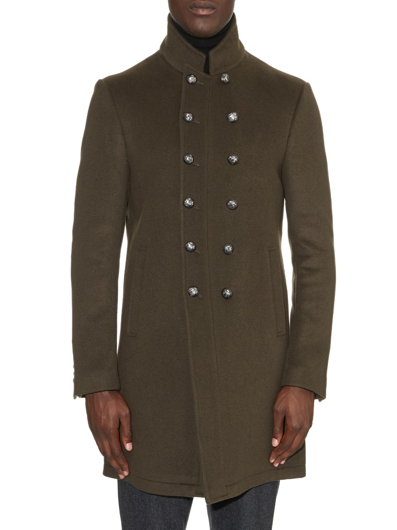 Lyst John Varvatos Peak Lapel Wool Blend Coat In Natural