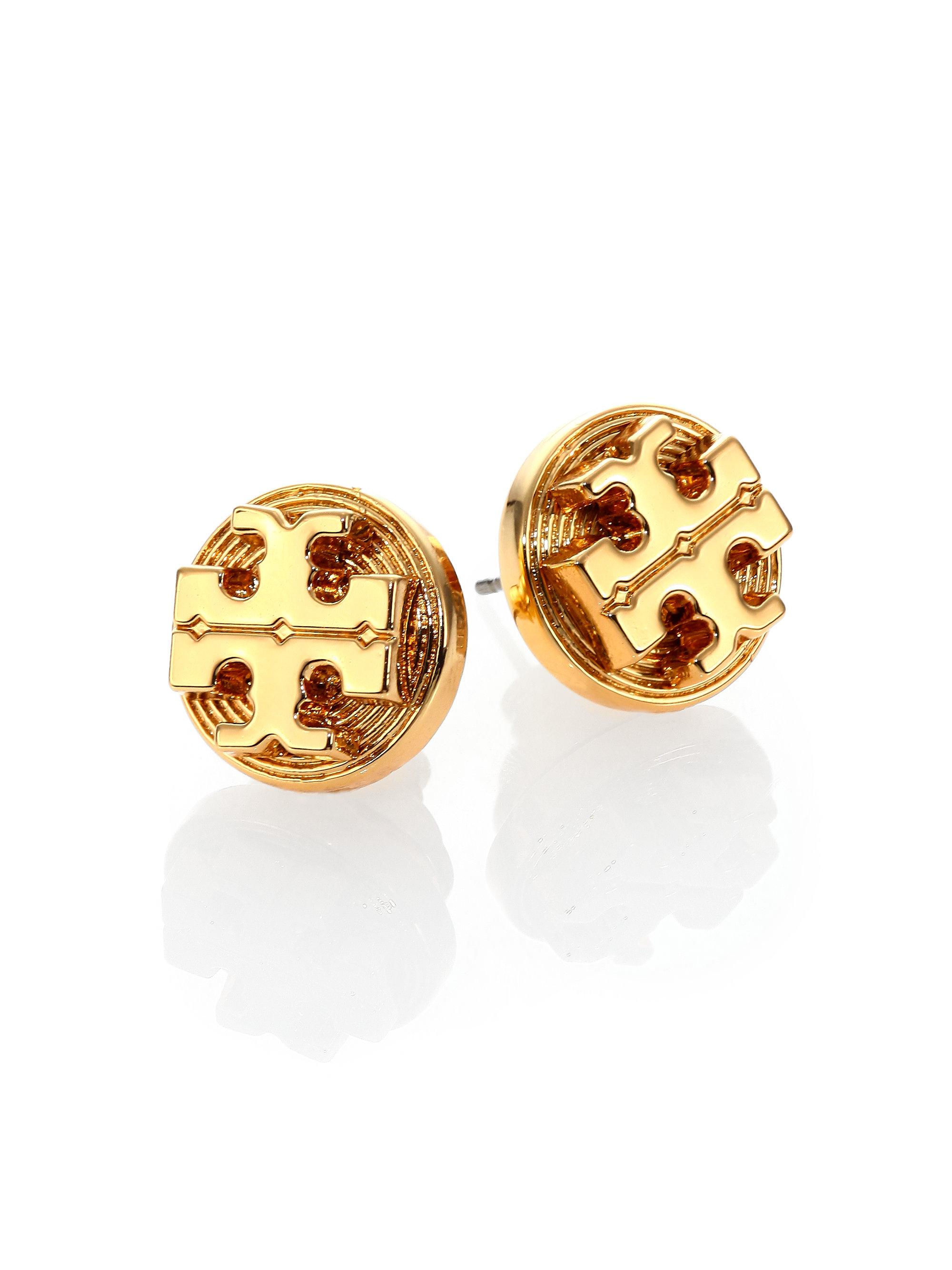 aa49ab0f6 Tory Burch Livia Logo Stud Earrings in Metallic - Lyst