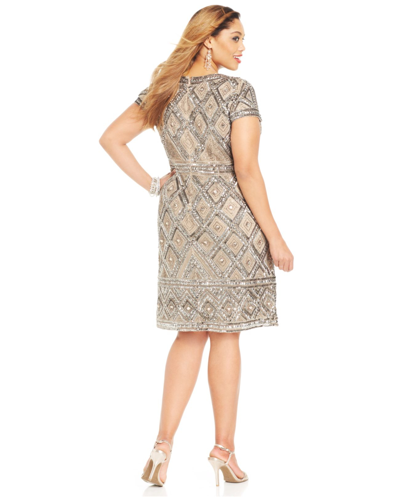 Plus Size Short-Sleeve Beaded Sheath