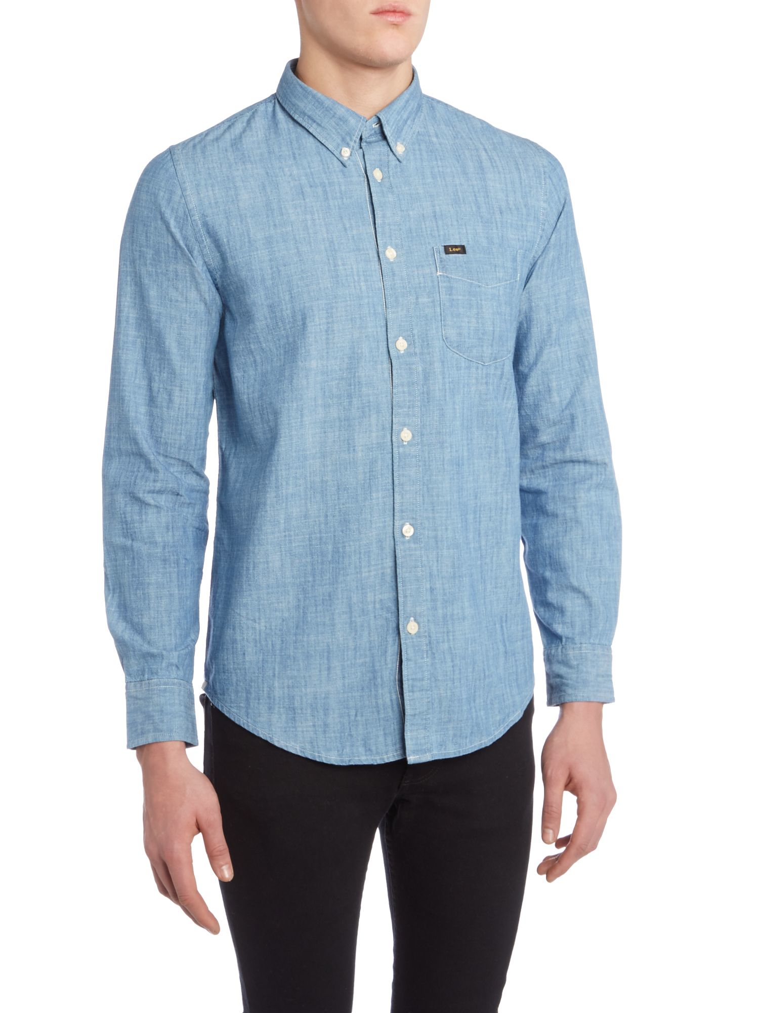Lyst - Lee Jeans Regular Fit Light Blue Denim Long Sve Shirt In Blue For Men