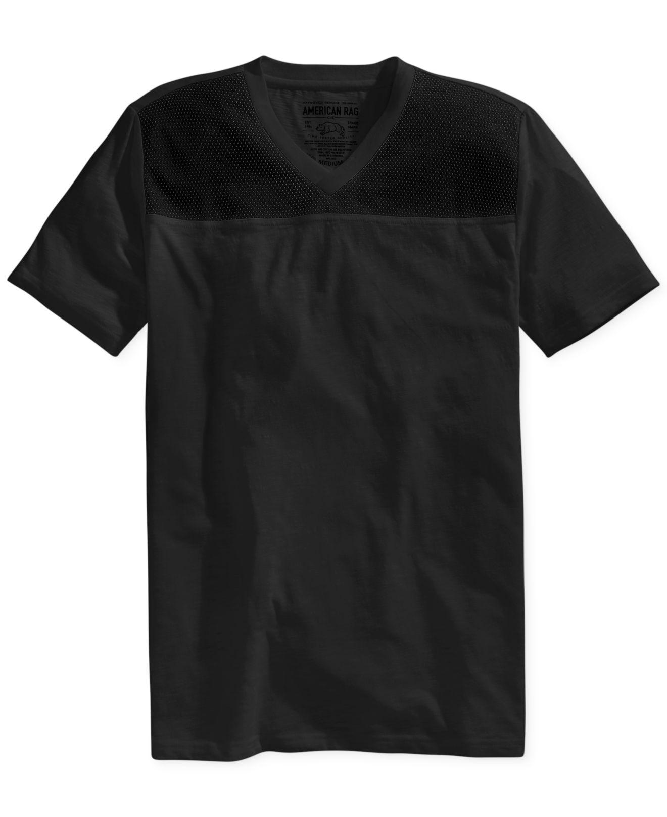 American Rag Mesh Yoke V Neck T Shirt In Black Lyst