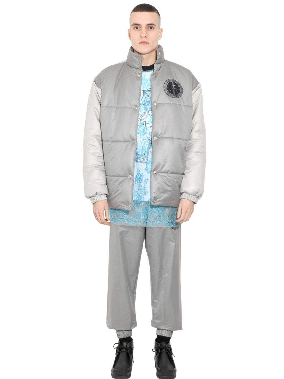 Astrid Andersen Oversized Nylon Puffer Jacket in Silver Grey (Metallic) for Men