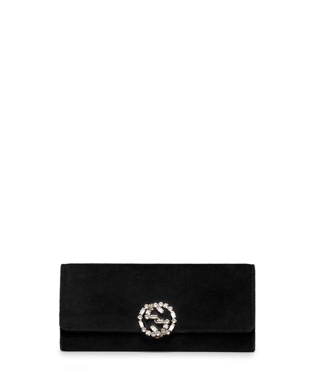 76f408dde72 Lyst - Gucci Broadway Suede Gg Buckle Clutch Bag in Black