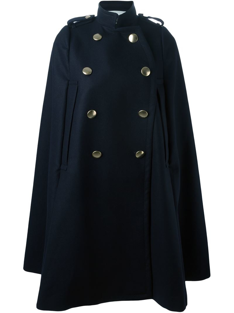 Sacai Luck Wool Military Style Cape Coat In Blue Lyst