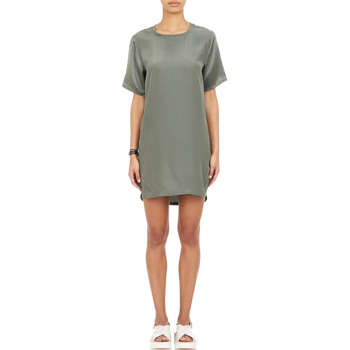 atm women 39 s silk t shirt dress in green lyst