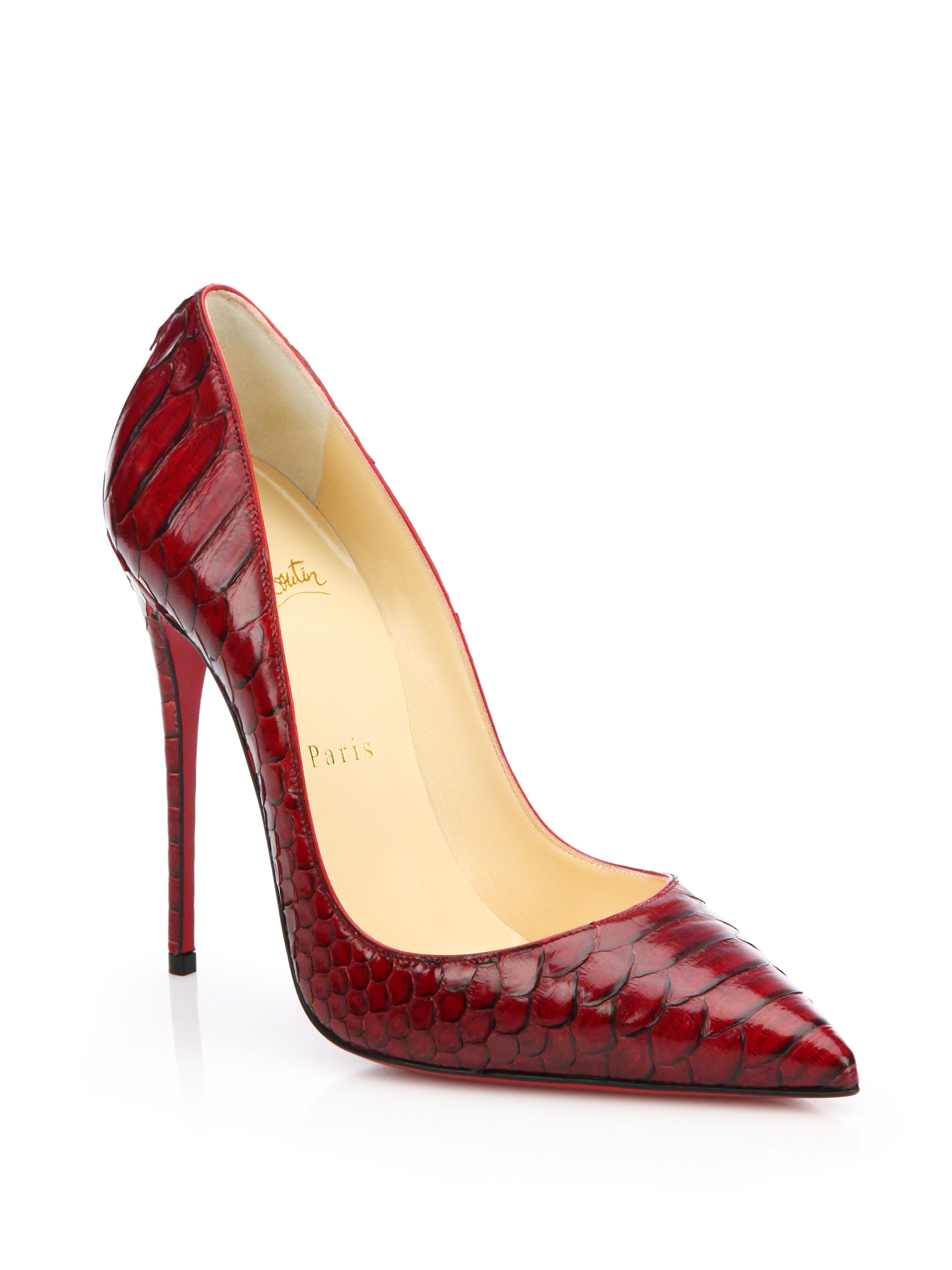 lyst christian louboutin so kate python pumps in red. Black Bedroom Furniture Sets. Home Design Ideas