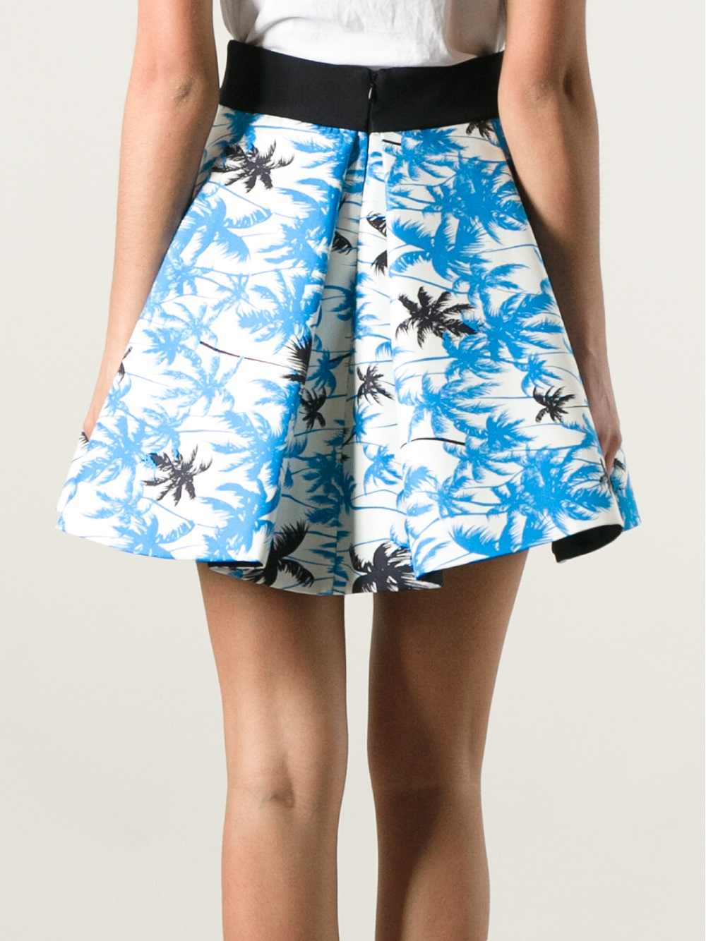 Fausto Puglisi Palm Tree Skirt in Blue