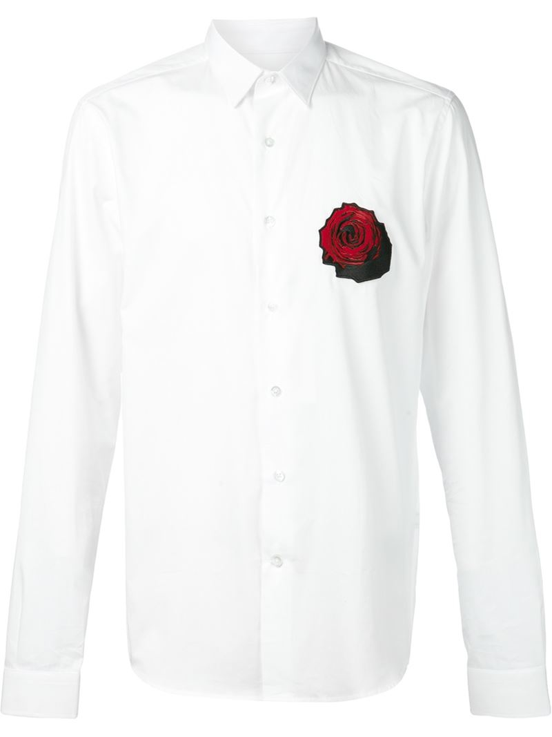 Ami embroidered rose patch shirt in white for men lyst