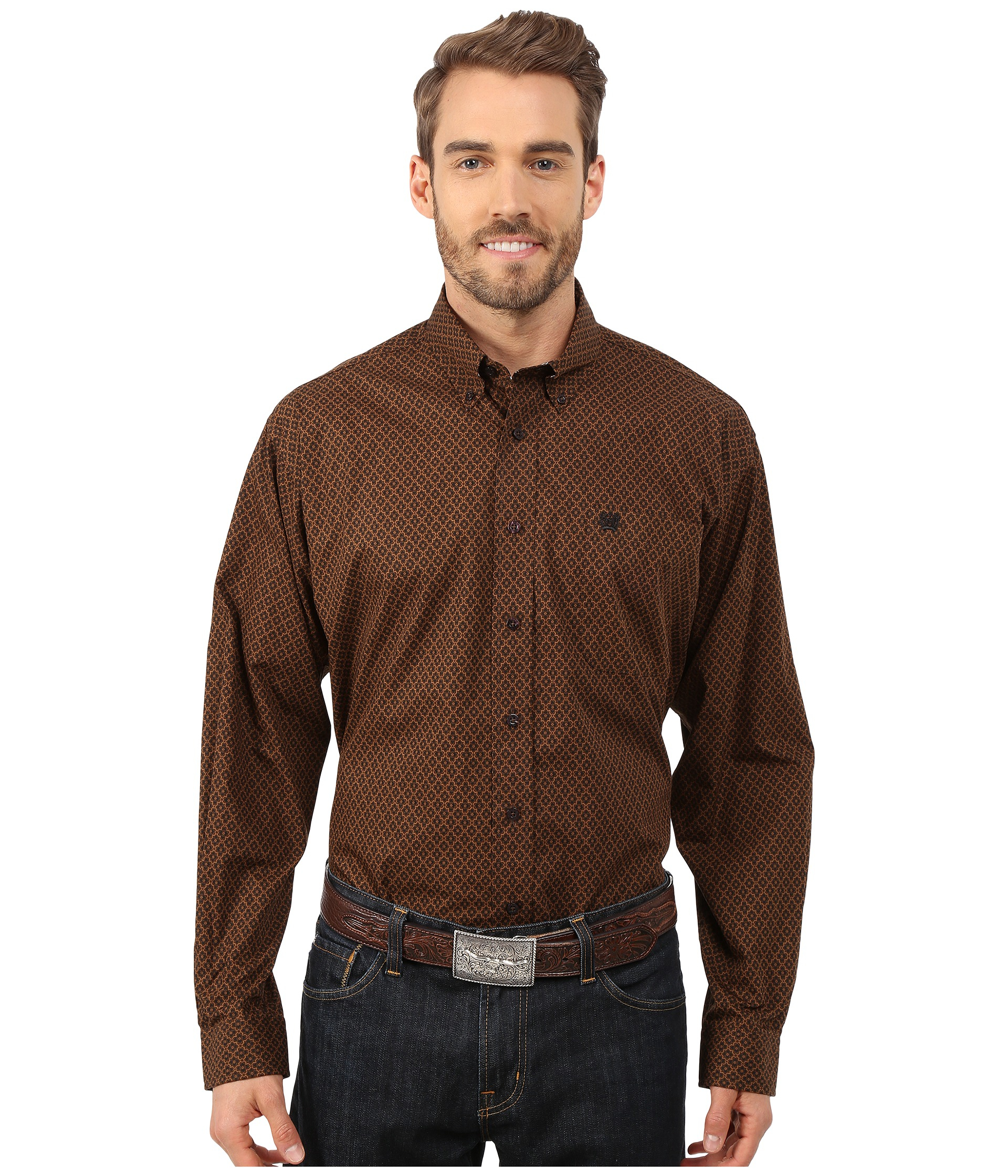 Cinch Long Sleeve Plain Weave Print Shirt in Brown for Men | Lyst